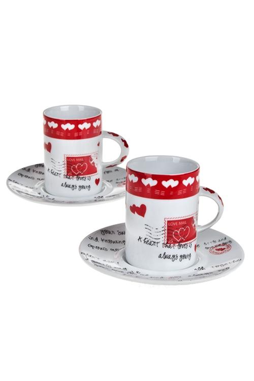 Набор для эспрессо Письмо любвиНаборы кружек<br>4-предм., 2 перс, фарфор (чашки 200мл), в подар. упак.<br>