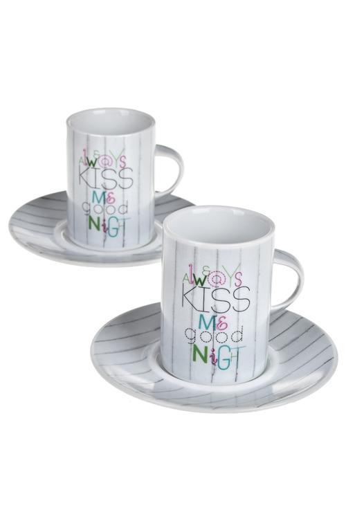 Набор для эспрессо ПоцелуйПосуда<br>4-предм., 2 перс, фарфор (чашки 200мл), в подар. упак.<br>