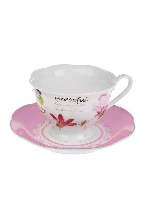 Чайная пара Весенний садПосуда<br>керам. (чашка 180мл)<br>