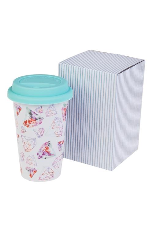 Стакан для чая/кофе БриллиантыПосуда<br>300мл, керам. (с крышкой, с двойными стенками), в подар. упак.<br>