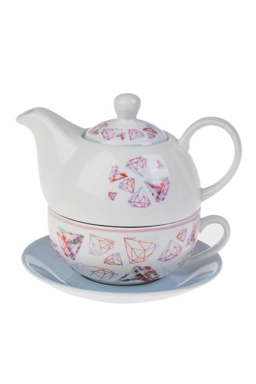Набор чайный БриллиантыПосуда<br>1 перс., керам. (чайник 420мл, чашка 250мл, блюдце)<br>