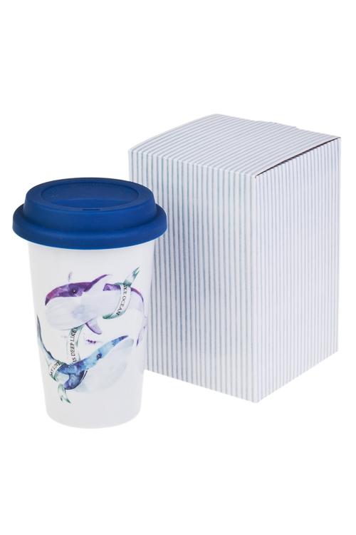 Стакан для чая/кофе КитыКружки с крышками и банки Mason Jar с ручкой<br>300мл, керам. (с крышкой, с двойными стенками), в подар. упак.<br>