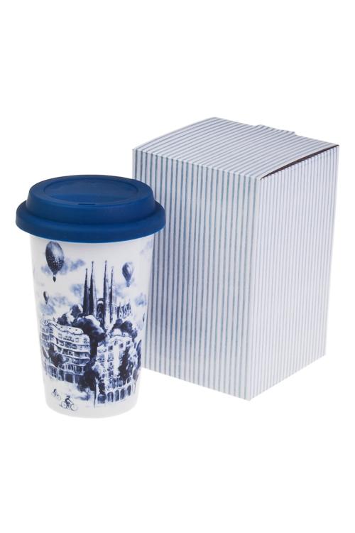 Стакан для чая/кофе Волшебный городПосуда<br>300мл, керам. (с крышкой, с двойными стенками), в подар. уп.<br>