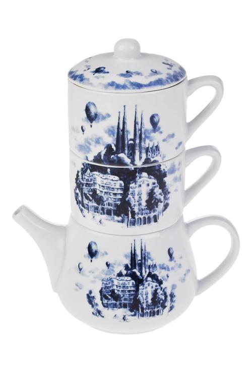 Набор чайный Волшебный городЧайные наборы<br>2 перс., керам. (чайник 420мл, чашки 200мл)<br>