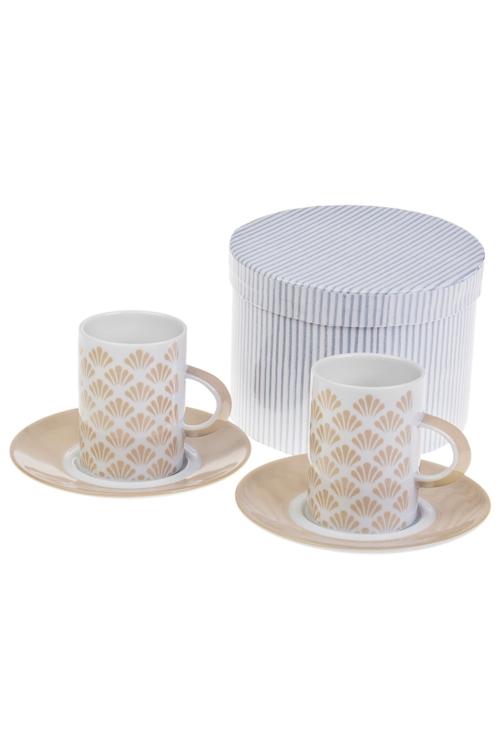 Набор для эспрессо БежПодарки ко дню рождения<br>2 перс, керам. (чашки 160мл), в подар. упак.<br>