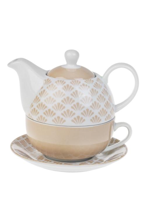 Набор чайный Беж1 перс., керам. (чайник 420мл, чашка 250мл, блюдце)<br>
