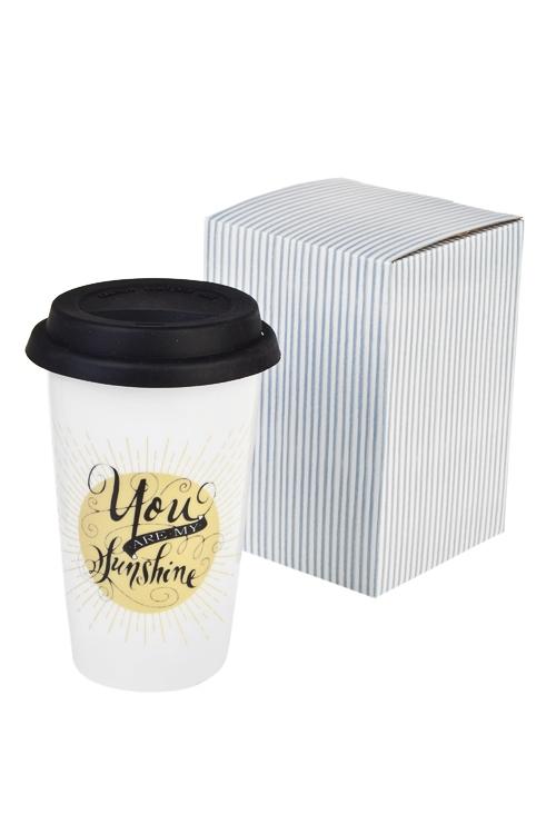 Стакан для чая/кофе Мое солнцеПосуда<br>300мл, керам. (с крышкой, с двойными стенками)<br>