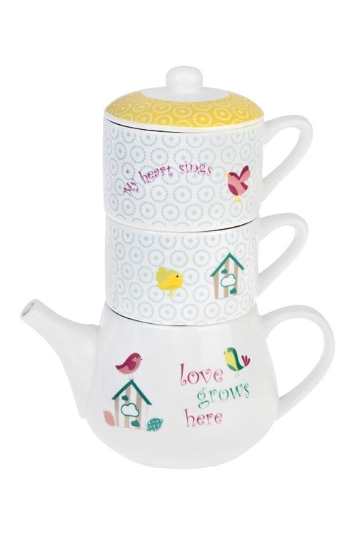 Набор чайный Любимый домПосуда<br>3-предм., 2 перс., керам. (чайник 350мл, чашки 175мл)<br>