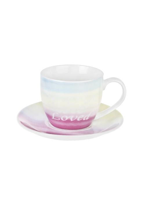 Чайная пара Ванильное небоПодарки ко дню рождения<br>Керам. (чашка 180мл)<br>