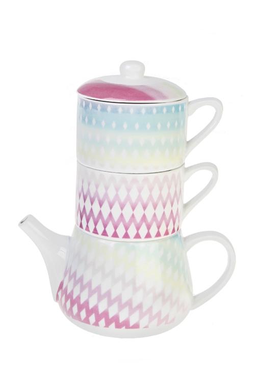Набор чайный Ванильное небоПосуда<br>3-предм., 2 перс., керам. (чайник 350мл, чашки 175мл)<br>