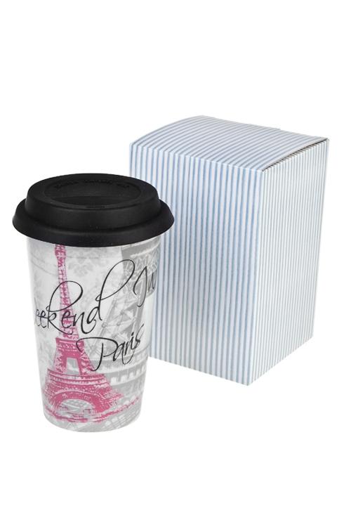 Стакан для чая/кофе Выходные в ПарижеПосуда<br>300мл, керам. (с крышкой, с двойными стенками)<br>