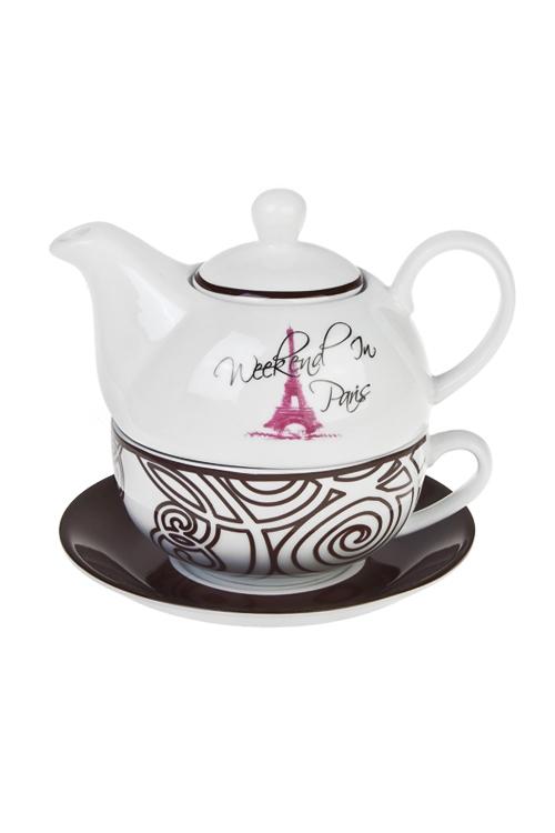 Набор чайный Выходные в ПарижеЧайные наборы<br>3-предм., 1 перс., керам. (чайник 400мл, кружка 250мл, блюдце)<br>