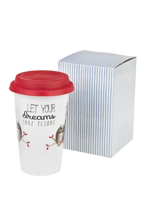 Стакан для чая/кофе Мечтающие совушкиПосуда<br>300мл, керам. (с крышкой, с двойными стенками)<br>