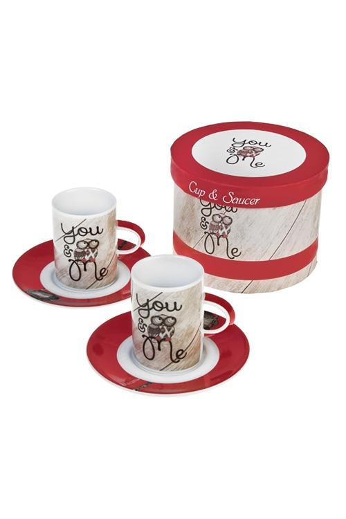Набор для эспрессо Мечтающие совушкиПосуда<br>4-предм., 2 перс., керам. (чашки 160мл)<br>