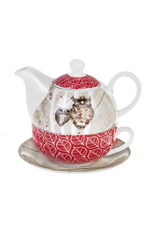 Набор чайный Мечтающие совушкиПосуда<br>3-предм., 1 перс., керам. (чайник 400мл, кружка 250мл, блюдце)<br>