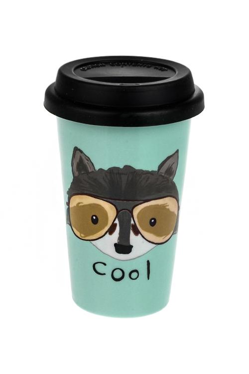 Стакан для чая/кофе Крутой енотПосуда<br>300мл, керам. (с крышкой, с двойными стенками)<br>