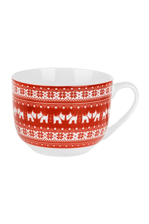 Бульонница новогодняя Норвежский песикКружки<br>580мл, керам., красно-белая<br>