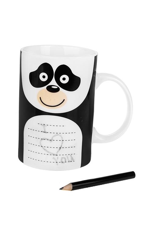 Кружка Улыбчивая пандаКружки<br>450мл, керам., с карандашом<br>