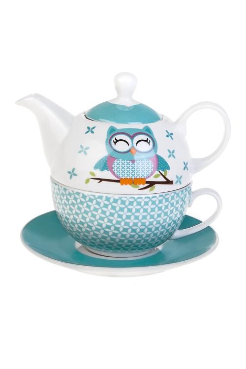 Набор чайный Обаятельная совушкаЧайные наборы<br>3-предм., 1 перс., керам. (чайник 400мл, кружка 250мл, блюдце)<br>