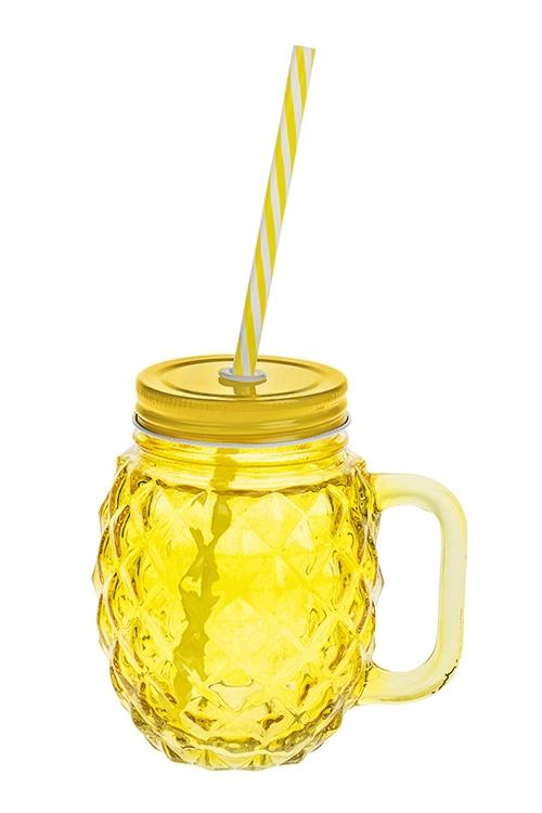 Кружка с крышкой Ананасовый вкусПосуда<br>450мл (с желто-белой трубочкой), металл, стекло, желтая<br>