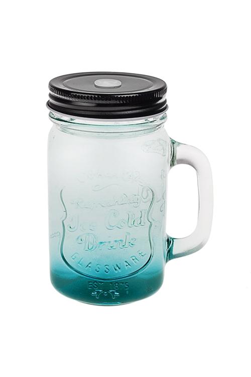 Кружка с крышкой Солнечный напитокКружки<br>450мл, стекло, металл, прозр.-голубая<br>