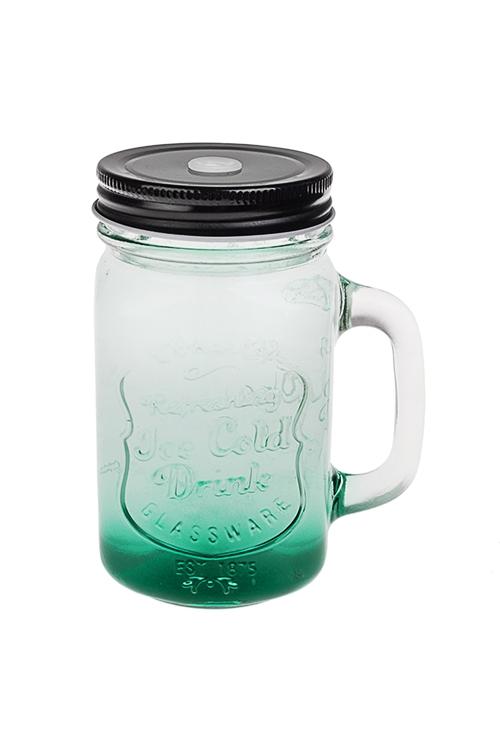 Кружка с крышкой Солнечный напитокКружки с крышками и банки Mason Jar с ручкой<br>450мл, стекло, металл, прозр.-зеленая<br>