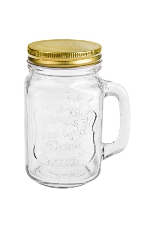 Кружка банка с ручкой и крышкой Mason Jar Солнечный напитокПосуда<br>450мл, стекло, металл (с золот. крышкой). Производитель: Boru Collection<br>