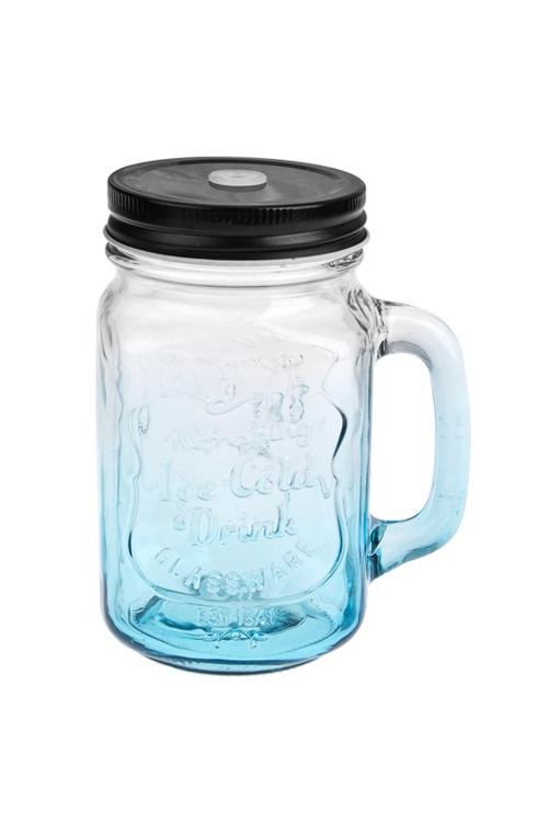 Кружка банка с ручкой и крышкой Mason Jar Солнечный напитокКружки с крышками и банки Mason Jar с ручкой<br>480мл, стекло, металл, прозр.-голуб. Производитель: Boru Collection<br>