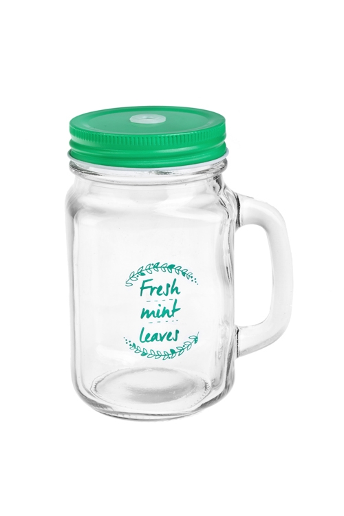 Кружка банка с ручкой и крышкой Mason Jar Листья мятыПосуда<br>480мл, стекло, металл, мятная. Производитель: Boru Collection<br>