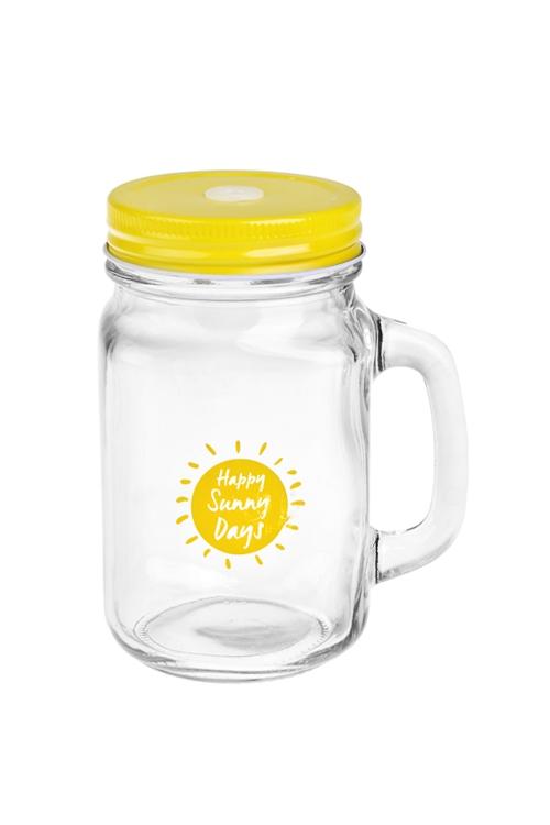 Кружка банка с ручкой и крышкой Mason Jar Счастливые солнечные дниКружки с крышками и банки Mason Jar с ручкой<br>480мл, стекло, металл, желтая. Производитель: Boru Collection<br>