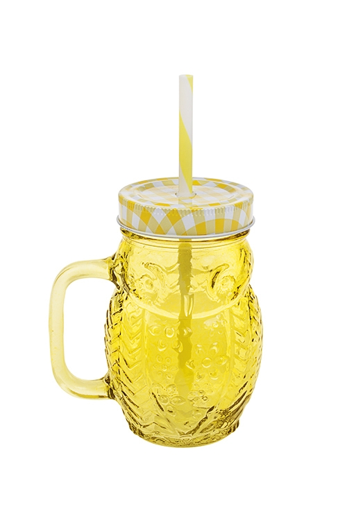 Кружка с крышкой СовушкаПосуда<br>450мл, металл, стекло, пласт., желтая (с трубочкой)<br>