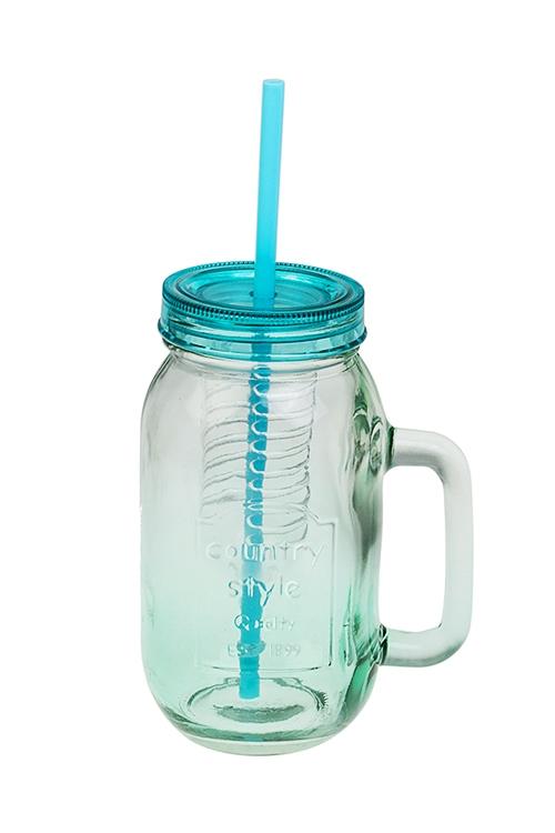 Кружка с крышкой Солнечный напитокПосуда<br>730мл, пласт., стекло, прозр.-зеленая (с трубочкой и колбой)<br>