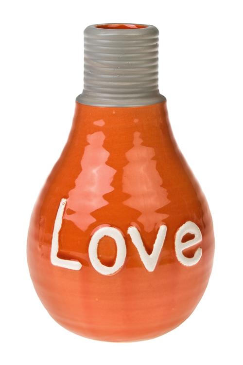 Ваза для цветов ЛампочкаКерамические вазы и кашпо<br>Выс=25см, керам., оранж.<br>