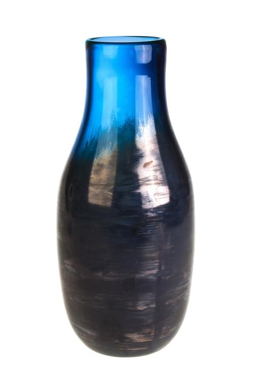 Ваза для цветов СтальИнтерьер<br>Выс=30см, стекло, серебр.-синяя<br>