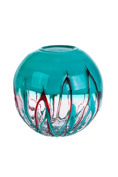 Ваза для цветов Внеземной объектИнтерьер<br>Выс=20см, стекло, бирюз.-красн.<br>