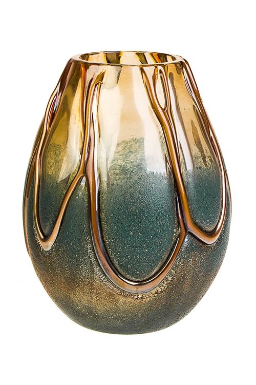 Ваза для цветов Песочный берегИнтерьер<br>Выс=20см, стекло, крем.-голубая, ручная работа<br>