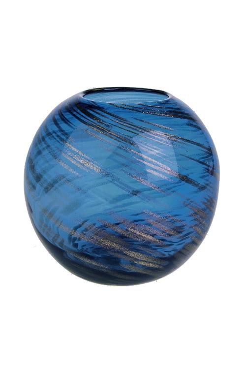 Ваза для цветов Млечный путьИнтерьер<br>Выс=18.5см, стекло, золот.-синяя, ручная работа<br>