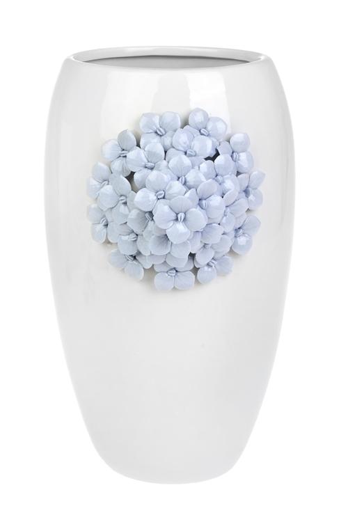 Ваза для цветов ГортензияСтеклянные вазы и кашпо<br>Выс=26см, фарфор, бело-голубая<br>