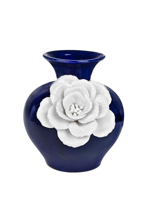 Ваза для цветов Распустившийся бутонИнтерьер<br>Выс=15.8см, фарфор, сине-белая<br>