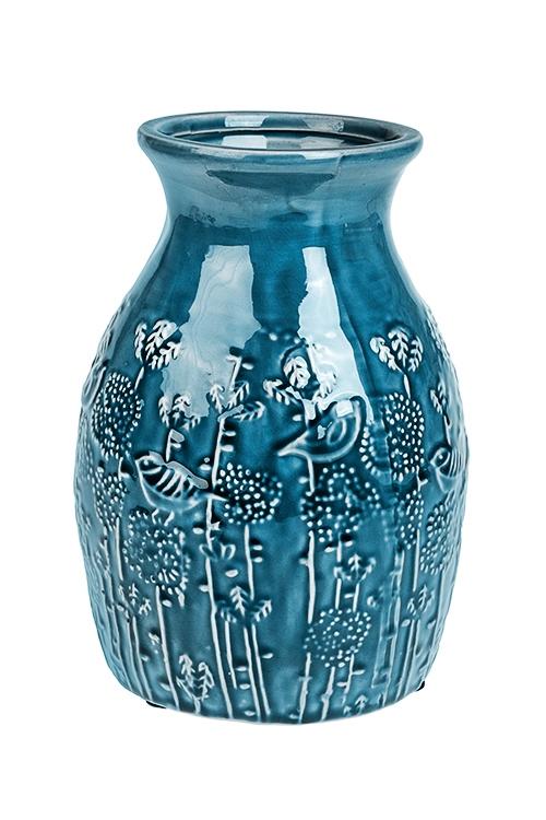 Ваза для цветов Пение птицКерамические вазы и кашпо<br>Выс=23см, керам., синяя<br>