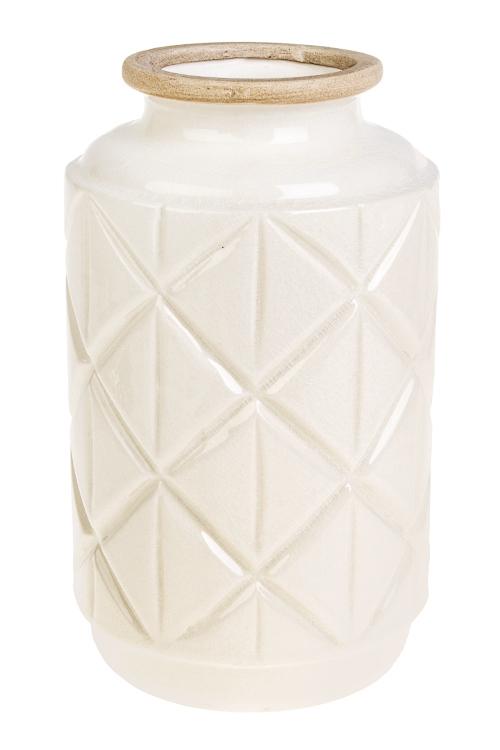Ваза для цветов Белый шоколадИнтерьер<br>Выс=26см, керам., белая<br>