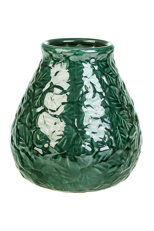 Ваза для цветов ЛистьяИнтерьер<br>Выс=21см, керам., зеленая<br>