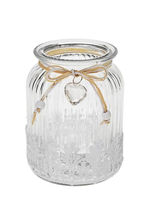 Ваза для цветов КружевоСтеклянные вазы и кашпо<br>Выс=14.5см, стекло, белая<br>