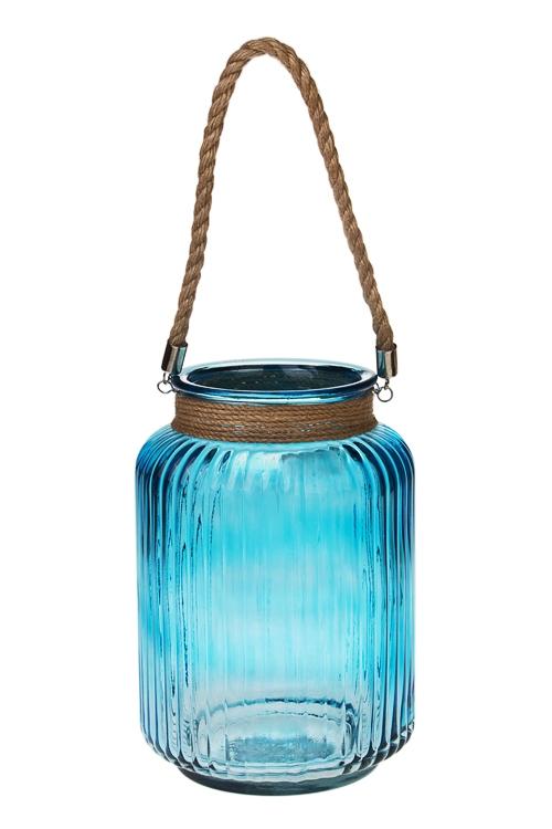 Ваза для цветов БризИнтерьер<br>Выс=25см, стекло, синяя<br>