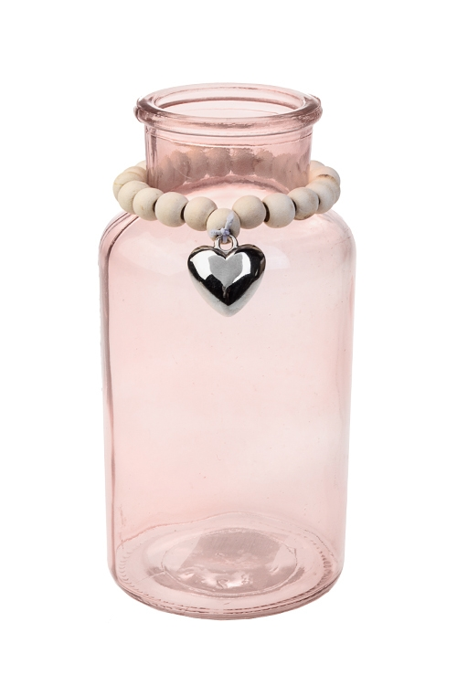 Ваза для цветов ЛюбовьИнтерьер<br>Выс=16.5см, стекло, розовая<br>