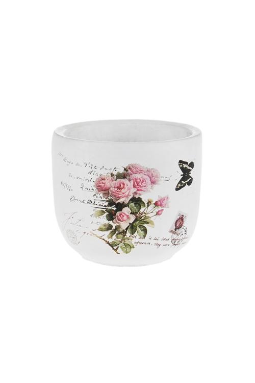 Кашпо для цветов РозыКашпо для цветов<br>Выс=9.5см, цемент<br>