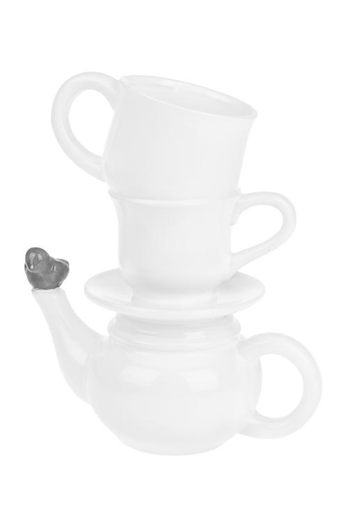 Ваза для цветов Чайник с птичкойИнтерьер<br>Выс=25см, керам.<br>
