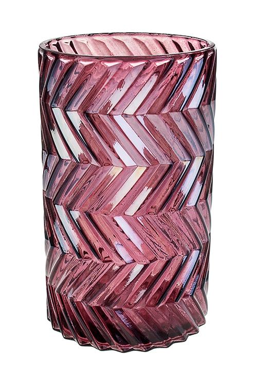 Ваза для цветов Блеск гранейИнтерьер<br>Выс=20см, стекло, фиолет.-перламутр.<br>