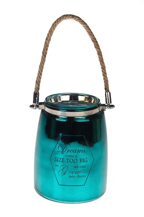 Ваза для цветов ГлянецСтеклянные вазы и кашпо<br>Выс=16см, стекло, бирюз.<br>