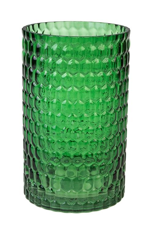Ваза для цветов ЯчейкиИнтерьер<br>Выс=20см, стекло, темно-зеленая<br>